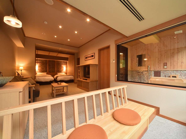 お部屋 檜造りの部屋風呂 完備(36〜38㎡)